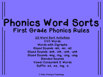 Phonics Word Sorts First Grade Phonics Rules