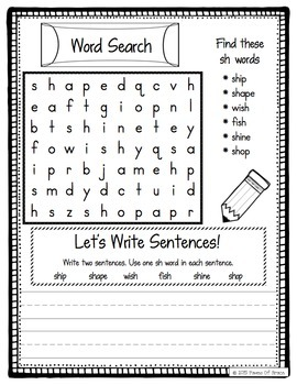 Consonant Digraphs Word Work Activity Packet-NO PREP