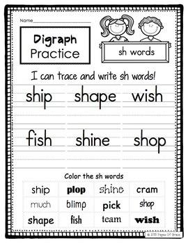 Consonant Digraphs Word Work Activity Packet-NO PREP