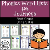 Journeys Phonics Word Work Lists Units 5 & 6 First Grade