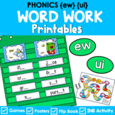 Phonics Literacy Center & Flip Books (vowel digraphs 'ew' & 'ui')