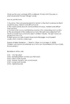 Phonics Workbook Unit 3