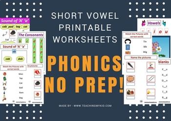 CVC Words Short Vowel Worksheets.