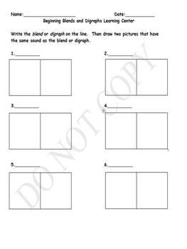 Phonics Worksheet- Blends and Digraphs Recording Sheet
