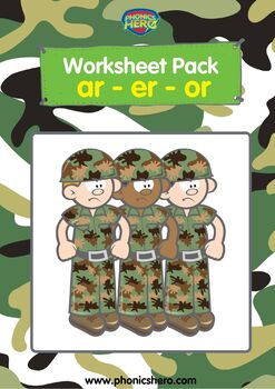 Phonics Worksheet Packs for R Controlled Vowels