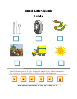 Phonics---Initial Letter Sounds Worksheets T and S for the non-writer