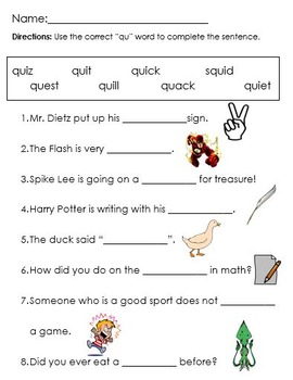 Qu Words Worksheets & Teaching Resources | Teachers Pay Teachers