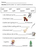 """Phonics Worksheet - """"qu"""" words"""