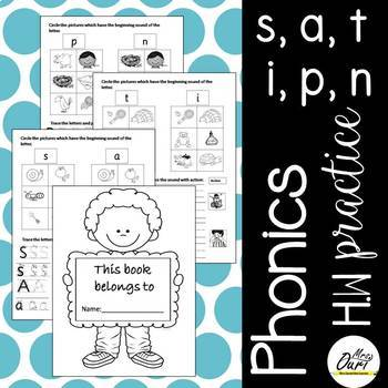 Phonics Worksheets 1 (s, a, t, i , n, p)