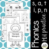 Phonics Worksheets 1 (s, a, t, i , n, p)