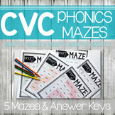 CVC Worksheets- Phonics Word Mazes