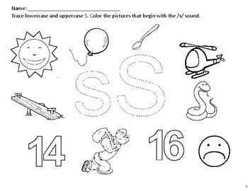 Phonics Worksheets (x10). Letters: S, A, T, P, I, N, M, D, G and O.
