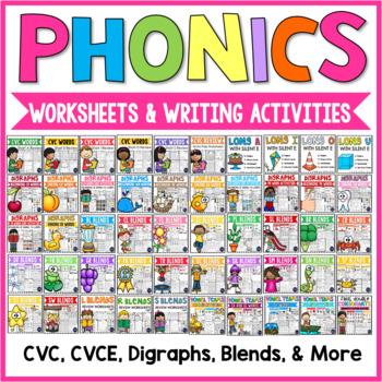 Phonics Worksheets and Activities: CVC, CVCE, Digraphs, Blends, Vowel Teams