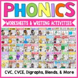 Phonics Worksheets & Activities 1st Grade CVC, CVCE, Blends Digraphs Long Vowels
