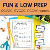 Phonics Worksheets and Activities for CCVCC CVCCC CCCVC