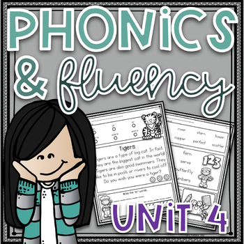 Phonics Worksheets and Phonics Based Fluency~ Unit 4 Distance Learning