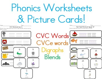 Phonics Worksheets and Sound Cards: CVC words, CVCe words,