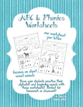 Phonics Worksheets for Beginning Sounds