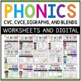 Kindergarten First Grade Phonics CVC CVCE Digraph Beginnin