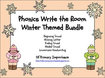 Phonics Write the Room Winter Themed Bundle