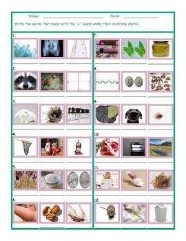 Phonics X Sound Photo Worksheet