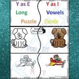 """Phonics """"Y as Long E and I Vowel Words"""" (Puzzle Cards)"""