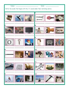Phonics Z Sound Photo Worksheet