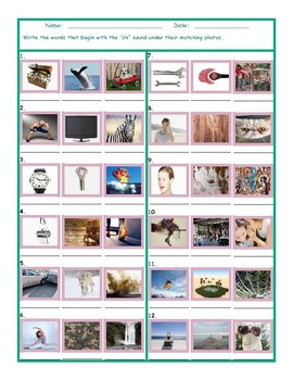 Phonics ZH Sound Photo Worksheet