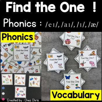 BUNDLE Phonics -   /a/ , /ai/ , /ei/ and /i/ - Find the one Games + flashcards