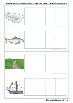 Phonics Game: digraph words - build and write