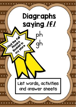 Phonics activity pages: Diagraphs that say /f/