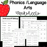 Early Literacy Phonics Worksheets K-2 (Short/Long Vowels, Plurals, Verbs, & More