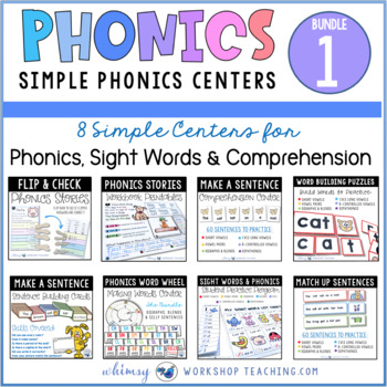 Phonics and Sentences Back To School MEGA Bundle 1 Literacy Centers