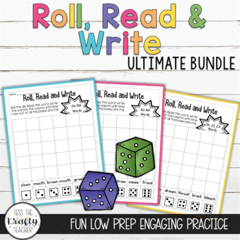 Phonics and Sight Word Dice Game Bundle Roll Read Write