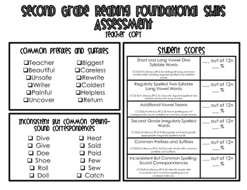 Phonics and Word Recognition Assessments for Second Grade
