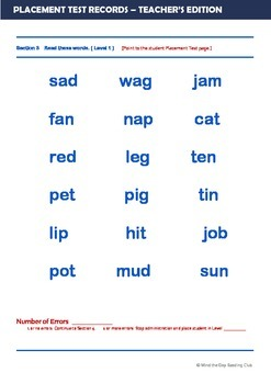 Phonics and short sentences placement test for EFL students