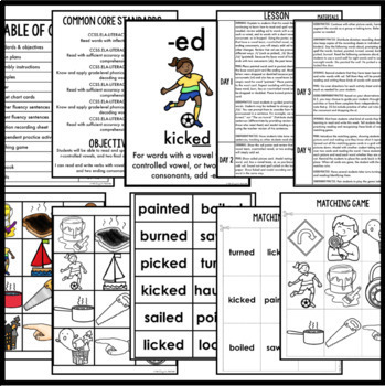 Phonics by Design Past & Present Tense Inflectional Endings -ING & -ED BUNDLE