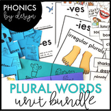 Phonics by Design Regular & Irregular Plural Words Unit BUNDLE {S, ES, IES, VES}