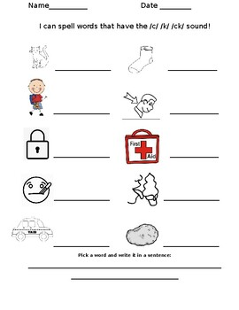 Phonics- c,k and digraph ck spelling