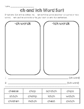 Phonics: ch and tch Words