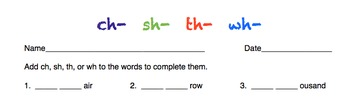 Phonics: ch- sh- th- wh-