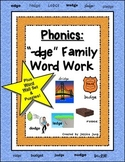 """Phonics: """"-dge"""" Family Word Work--word wall set included!"""
