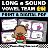Long e Vowel Team Activities { ea Vowel Team Practice } Long Vowel Task Cards