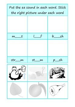 Phonics ea - long e- cut and stick worksheet