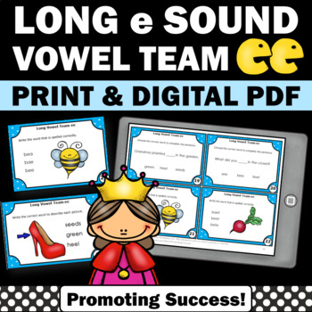 Long e Vowel Team Activities { ee words } Long Vowel Task Cards