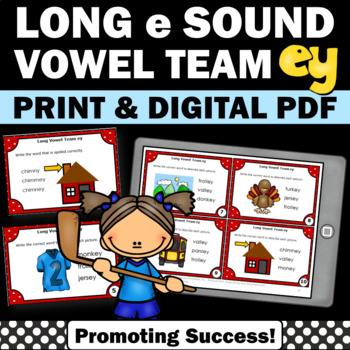 Long e Vowel Team Activities { ey words } Long Vowel Task Cards