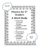 Phonics for 5th Graders A Word Study