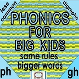 Distance Learning Phonics for Big Kids Less Common Digraphs GH, PH