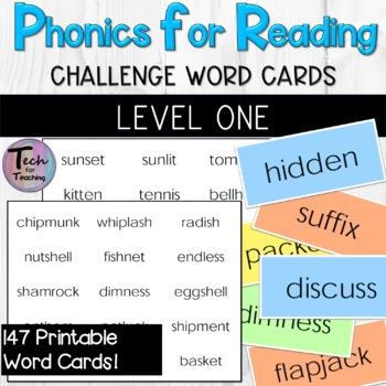 Phonics for Reading Level One Challenge Word Flashcards/Word Probes