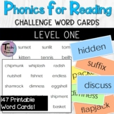 Phonics for Reading Level One Challenge Word Flashcards/Wo